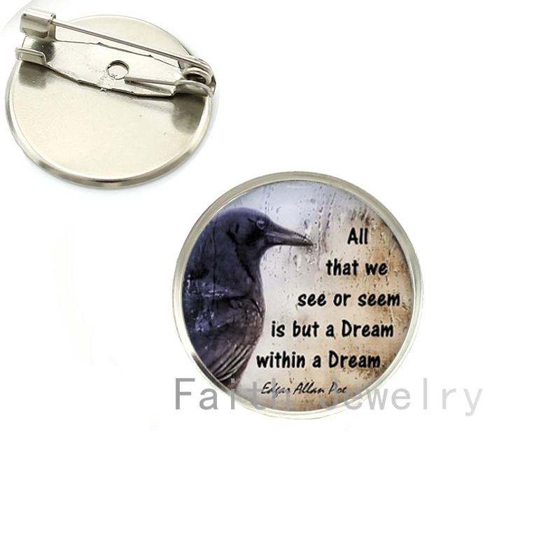 Edgar Allan Poe Book Quote brooch pins Gothic Quoth the Raven Literary Quote Art brooches silver plated handmade gifts NS145