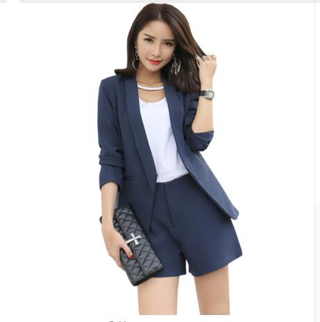 2018 Work Wear Short Pants Suit Women Summer Autumn Long Sleeved