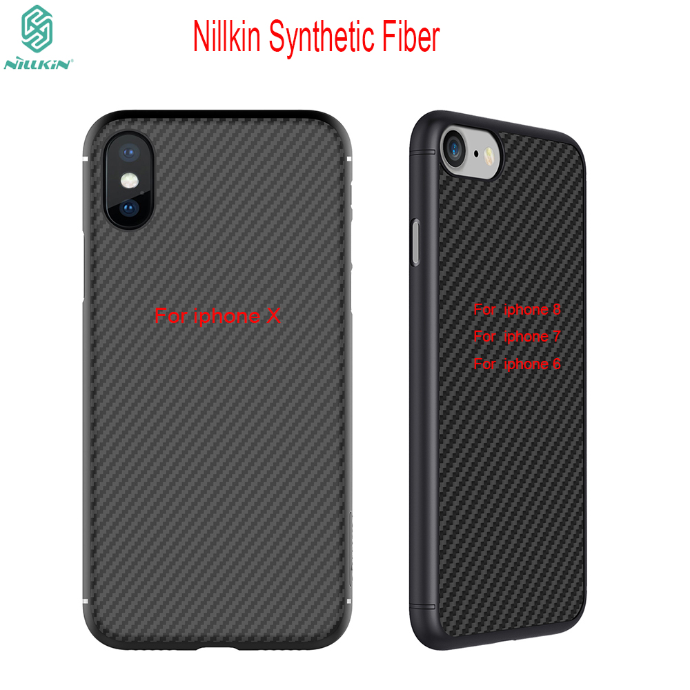 new styles 7bf2d 0aa0f Nillkin synthetic fiber Cell phone case for apple phone X iphone 8/7/6  6Plus 6s 6s 7 Plus Hard Carbon PP Plastic Back Cover Case