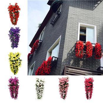 7 Opção das cores de Seda Flores Artificiais Com Folhas de Seda Violeta Artificial Flores Para Varanda Decoração Da Parede Vinha Pendurado VWF2078