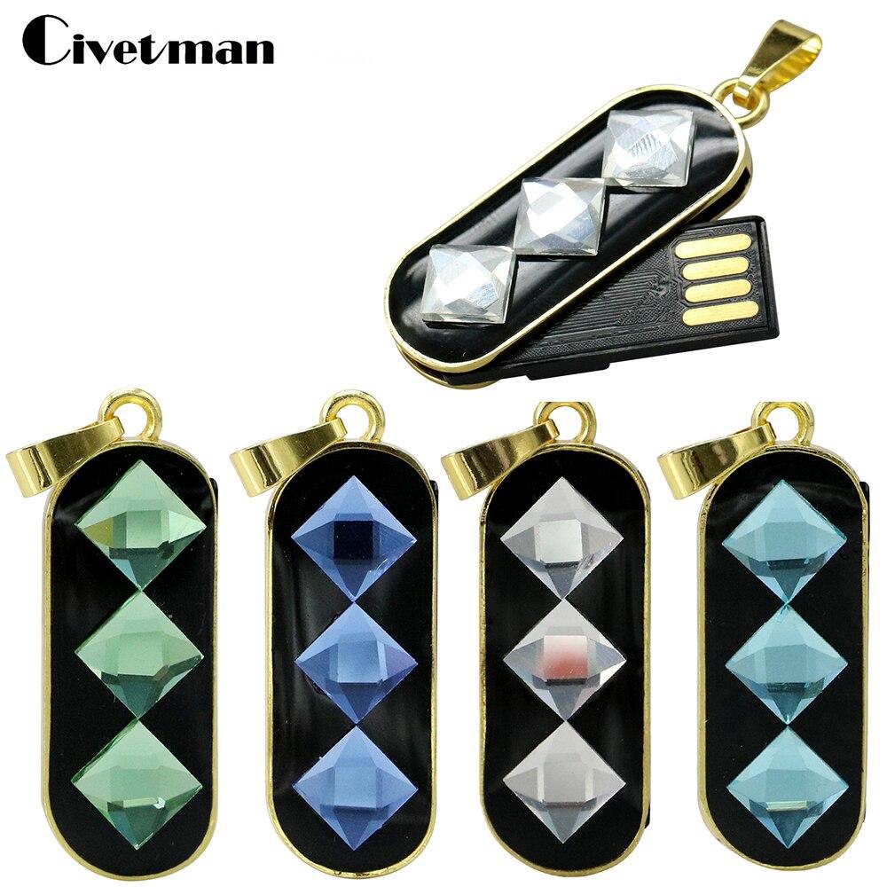 Civetman Pretty Metal Diamond Crystal Necklace Usb Flash Pen Drive 8gb 16gb  32gb 128gb Jewelry Memory