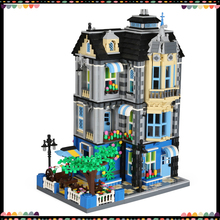 Wange Building Blocks Street Series Large Big Model Building Garden Coffee Shop Bricks Toys Educational For Kids Children Gifts lepin 15009 pet shop supermarket model city street building blocks compatible 10218 toys for children