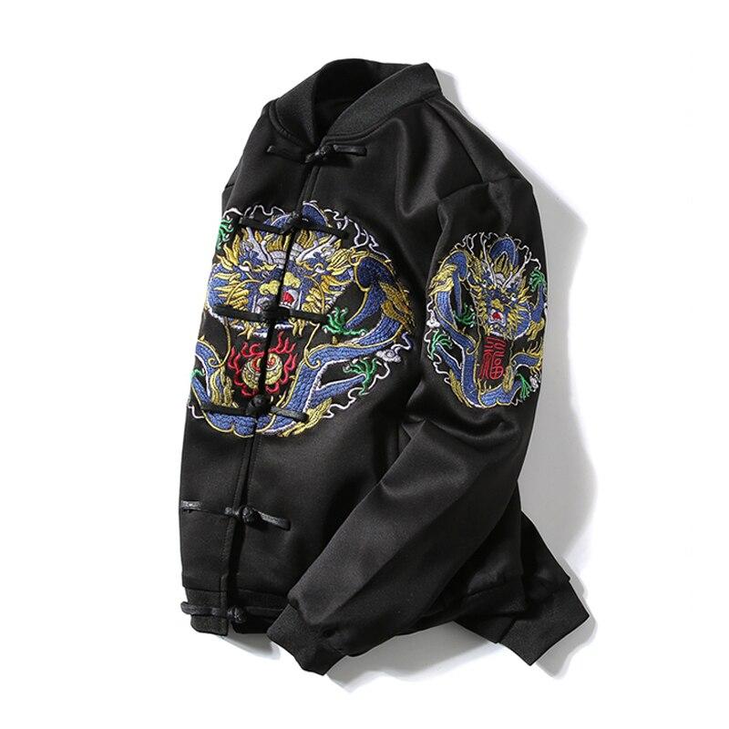 5xl Veste Hommes Unique Bumpybeast Broderie Printemps La Dragon L'asie Manteau Style De Plus Col 2018 Noir Se Poitrine Chinois Nouveau Taille 1xgg4R