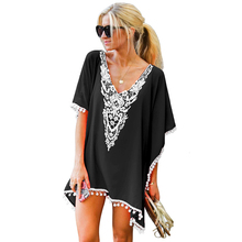74b8552ee8dd3 Beach Cover-Ups Dress Blue Crochet Chiffon Pom Pom Tassel Swimsuit Women  Summer Sexy Tunic Robe Plage beachwear white pink color