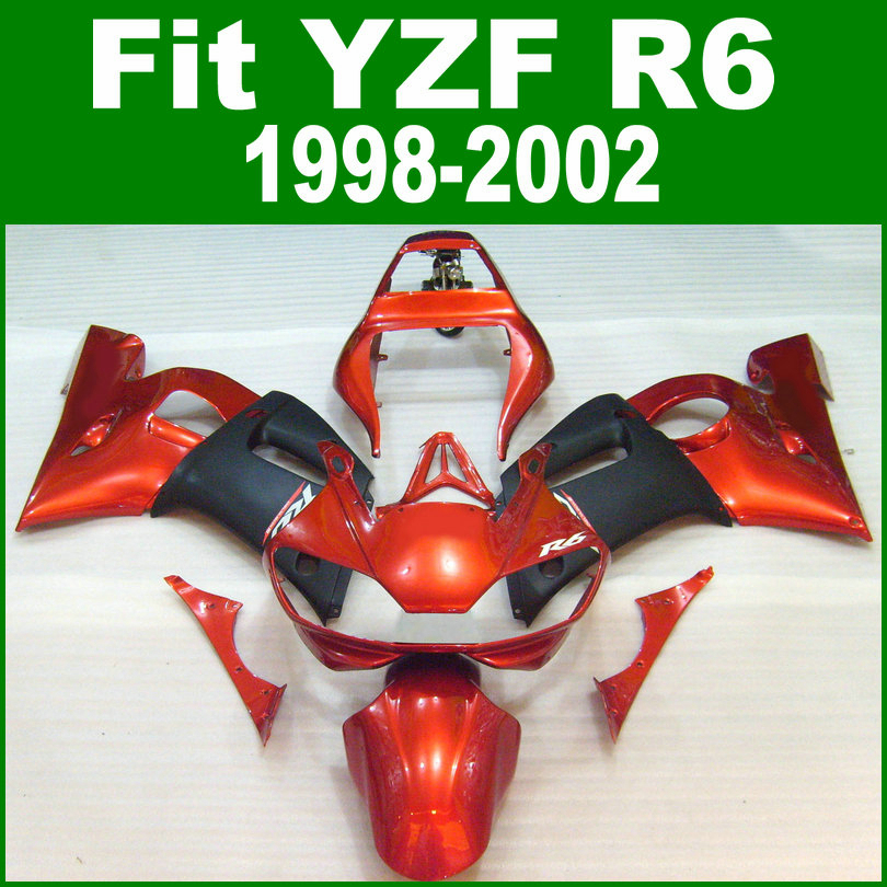 Red fairings for yamaha r6 98 1998 2002 top-selling fairing kit ( burnt orange ) ll06