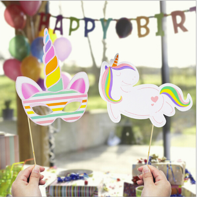Unicorn Theme Party Photo Booth Props Baby Shower Kids Children Birthday Decorations For Home DIY