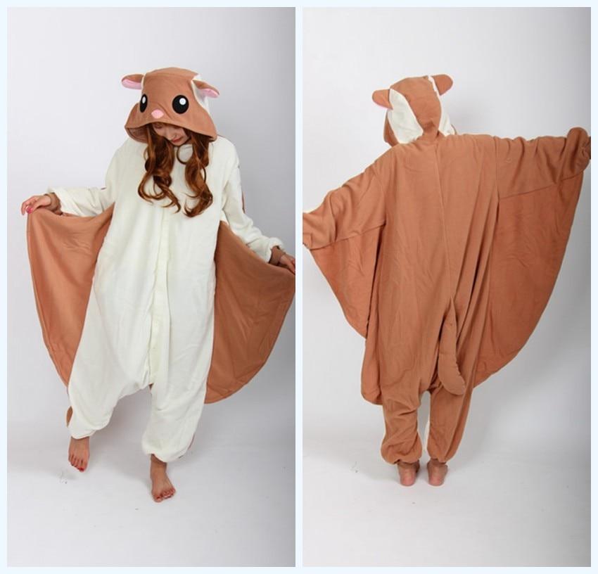Japon Polaire Femmes Flying squirrel Onesies Cosplay Costumes Halloween Filles Animal type Cosplay Pyjamas Pyjamas Adulte Survêtement