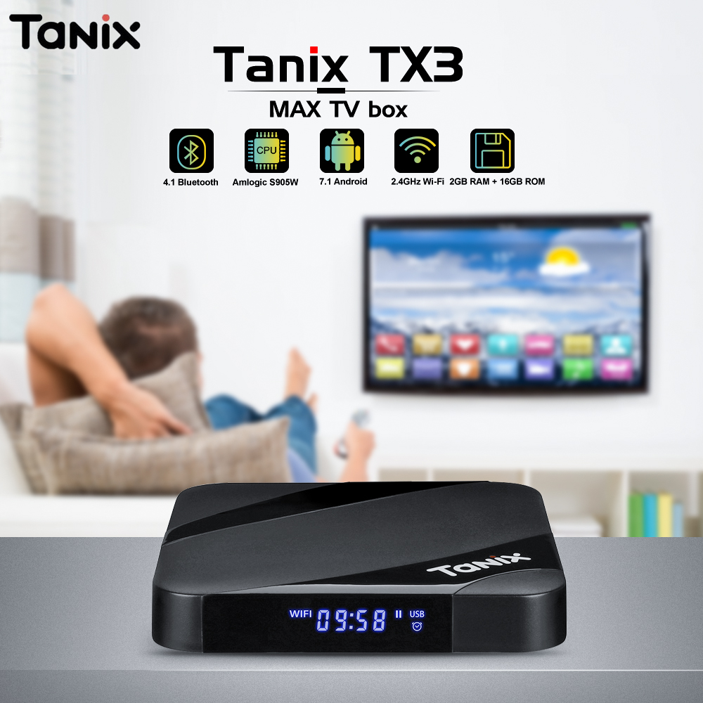 Tanix TX3 Max TV Box Android 7.1 Bluetooth 4.1 Amlogic S905W 2 GB RAM 16 GB ROM Set Top Box 2.4 GHz WiFi 4 K lecteur multimédia
