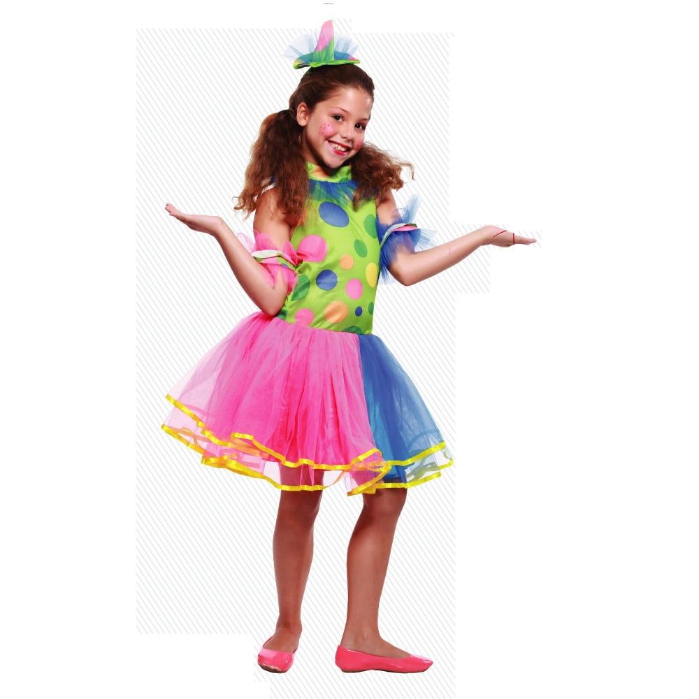 Cute Children Clown Costumes Halloween Carnival Girls Show Costume