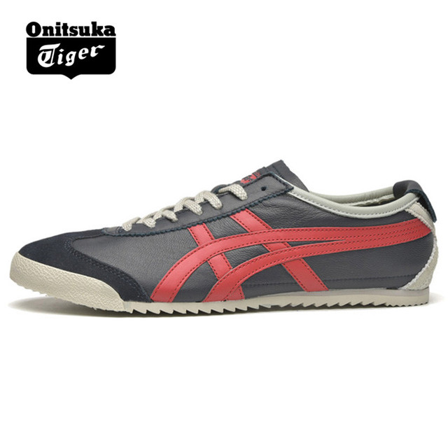 promo code c5c6f 4b1ca US $125.39 |Original ONITSUKA TIGER MEXICO 66 Men's Women Shoes Sheepskin  leather Dark blue red Unisex Low Classic Sneakers Badminton shoes-in ...