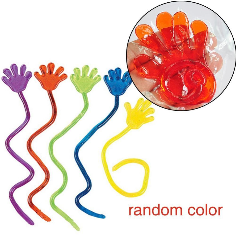 Bright Colorful Glitter Vinyl Sticky Hands Classic Squishy Hands Toy Jelly Kids'Toy Party Favour Stretchy Novelty Gifts