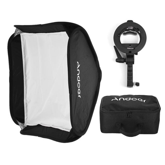 Russia Free Shipping Andoer Photo Studio 60 * 60cm Folding Softbox with S-type Handheld Flash Speedlite Bracket Carrying Bag