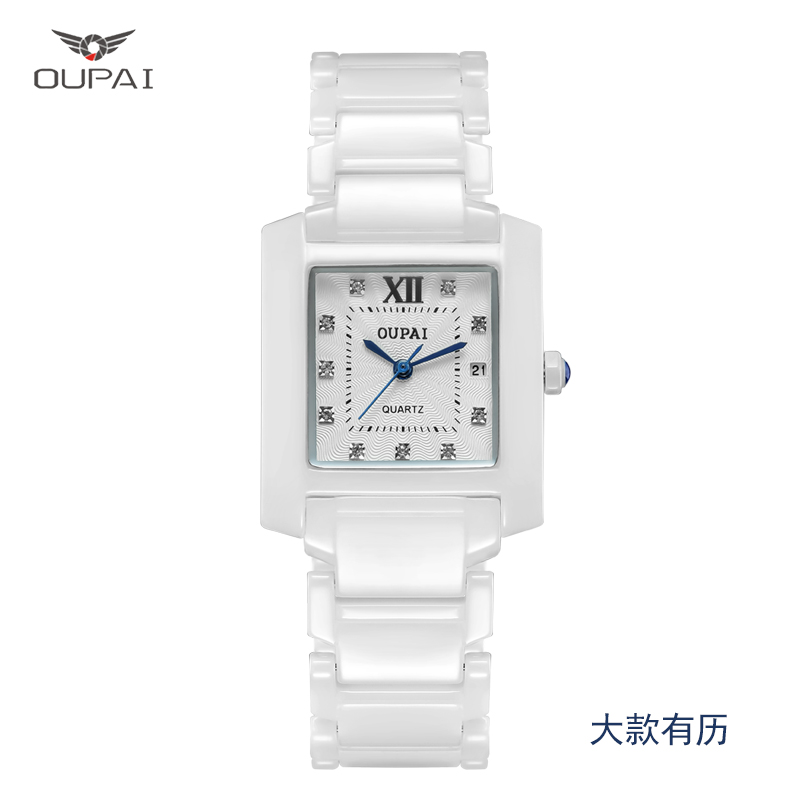 OUPAI Square New Fashion Ceramics Quiz Watch Water Resistance Women Watch Luxury Simple Lady Watch with Calendar