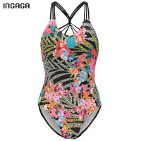 INGAGA 2017 Brand One Piece Swimsuit Floral Swimwear Women New Sexy Bandage Monokini Summer Bathing Suits