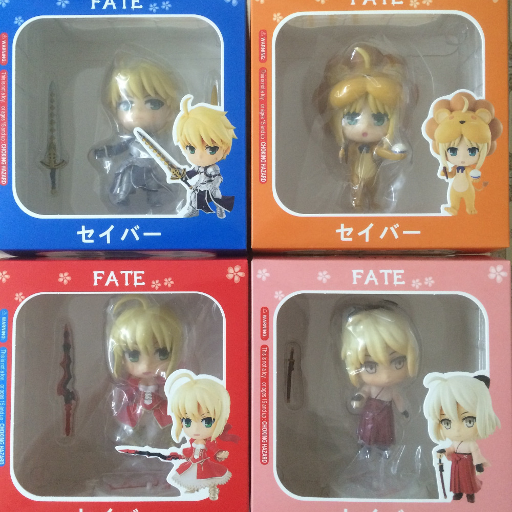 (4 pieces/lot) Fate/stay night Cartoon Toy Model Dolls figma Lovely Cute Animation Film Toys PVC Action Figure World GH380