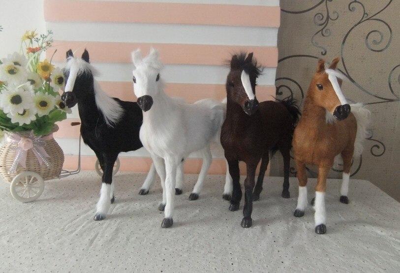 4 stücke ein satz schöne simulation pferd spielzeug pelz & polyethylen pferd kaffee modell pferd puppen geschenk über 28x25 cm 1678