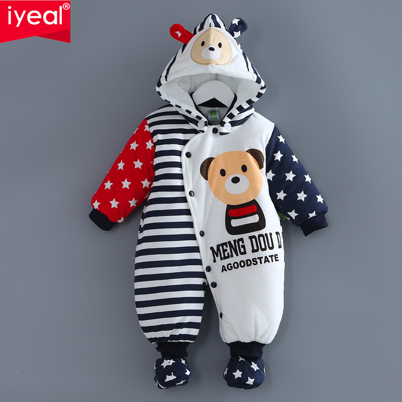 IYEAL Newborn Winter Clothes Cotton-padded Baby Clothing Long Sleeve Hooded Animal Baby Girl Boy Romper Cartoon Warm Jumpsuit newborn infant baby boy girl clothing cute hooded clothes romper long sleeve striped jumpsuit baby boys outfit