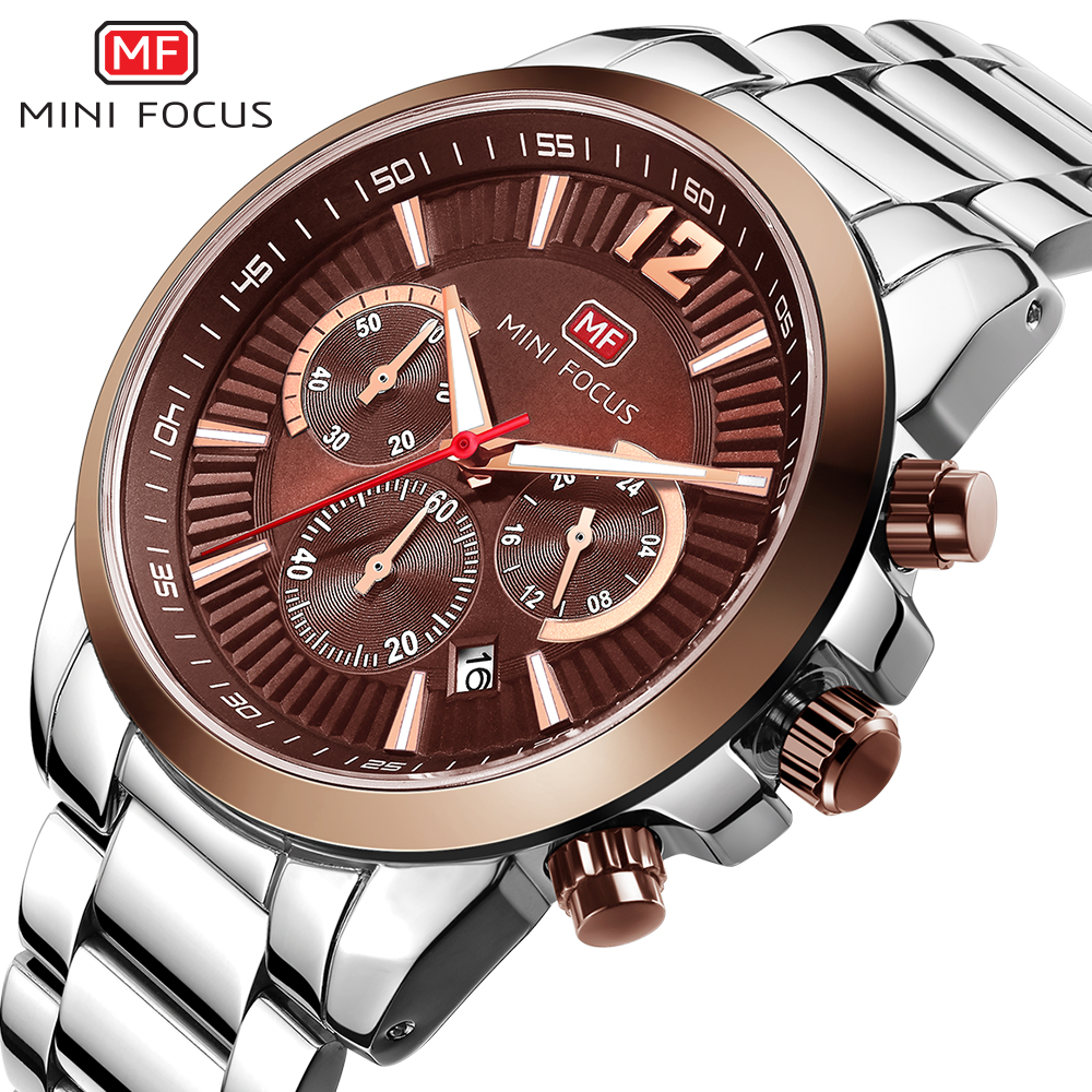 MINIFOCUS Fashion Luxury Mens Watches Stainless Steel Waterproof Clock Army Military Wristwatch Gift For Male Relogio Masculino