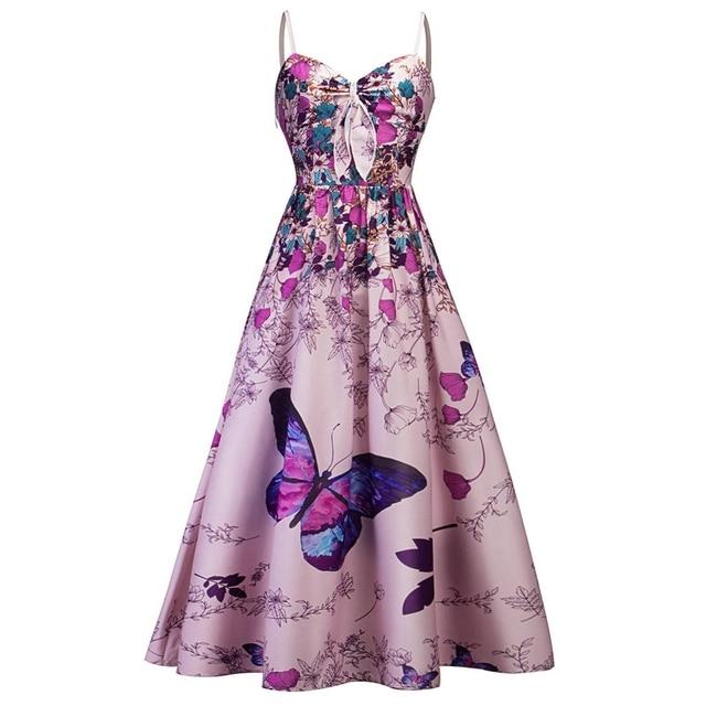 1a35f29bf2 Wipalo mariposa impresión Floral Maxi vestido largo mujeres playa verano  Vestidos vintage 50 s Correa de