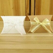 50 шт милые крафт-бумажные подушки для подарка коробки для конфет для свадебной вечеринки