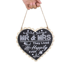 Wedding Craft Heart Shape Wooden Blackboard Pendant Mr & Mrs Sign Hangtag(China)