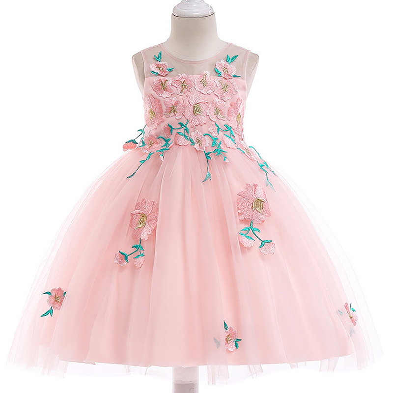 Retail Embroidery Flowers Beauty Princess Girls Summer Evening Party Gown Dress Elegant Princess Flowers Girls Dress L5032