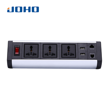 JOHO Desktop Socket 250V 10A/16A 3 Sockets Dual USB Charger With Switch Portable Computers Desktop PC Data Cable Universal
