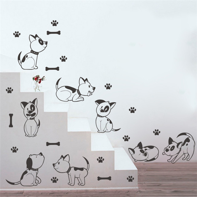 Funny Cartoon Dogs Printed Wall Stickers