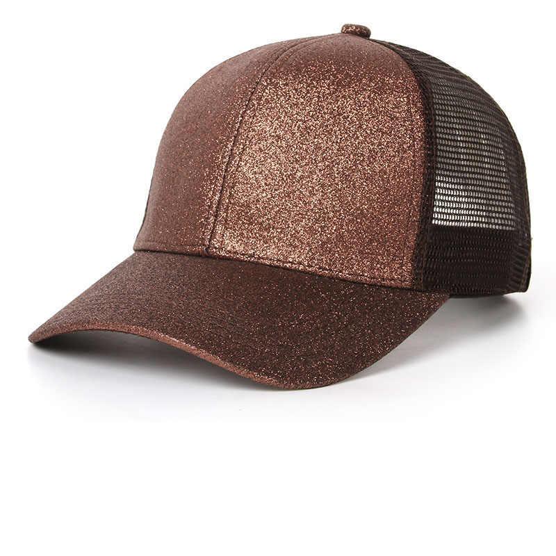 097b571e9 Drop Shipping 2018 Glitter Ponytail Baseball Cap Women Snapback Hat Summer  Messy Bun Mesh Hats Casual Adjustable Sport Caps