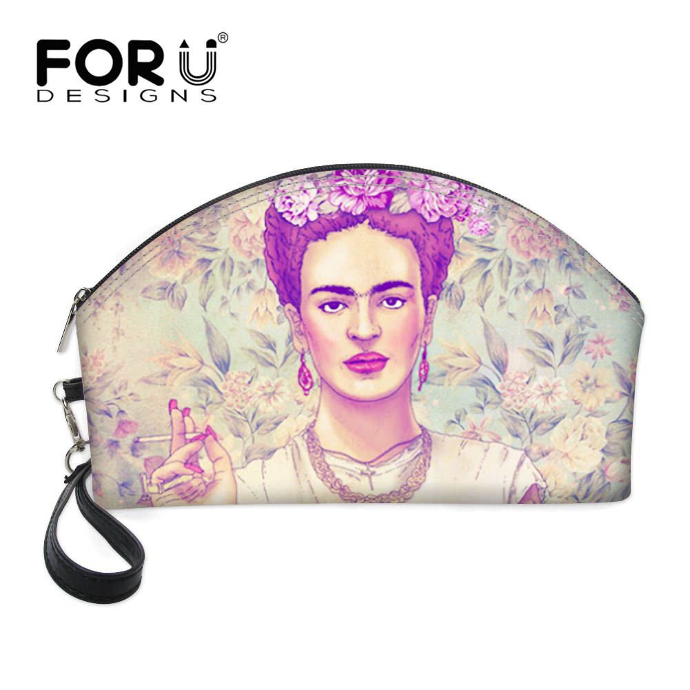 FORUDESIGNS Frida Kahlo Girl 3D Printing Makeup Bags Organizer Cosmetic Bag Women Pouchs For Travel Ladies Neceser Make up Case frida kahlo i paint my reality