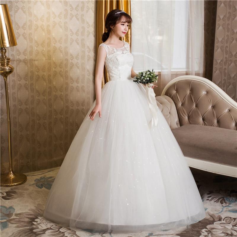 Free shipping New 2017 Summer O-neck Lace White Wedding Dresses Plus size Princess Cheap Bride Frocks Vestidos De Novia HS246