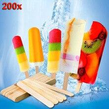200 шт. деревянные палочки для мороженого палочки для угощений морозильник Поп палочки деревянные палочки, красная объемная точка, парафиновый принтер gelli(для производителей мороженого 65/93/114/140/150 мм JS23