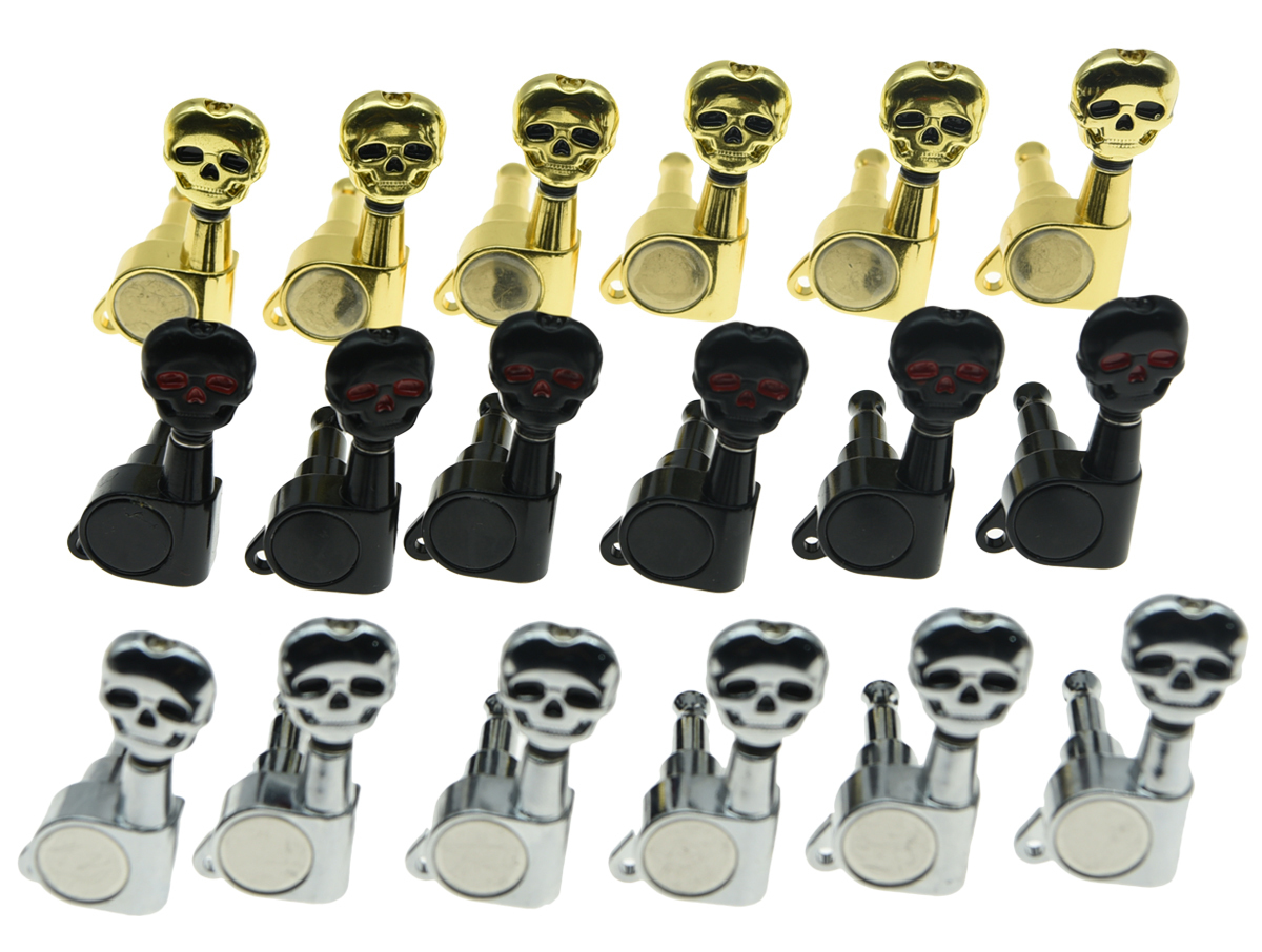 6 inline 6l left handed sealed skull button guitar tuners tuning keys pegs machine heads for. Black Bedroom Furniture Sets. Home Design Ideas