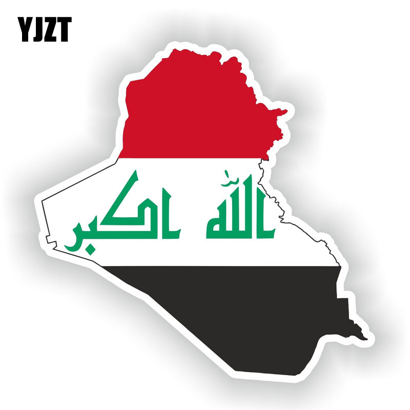 YJZT 13.2CM*13CM Iraq Map Flag Car Sticker Window Decal Reflective Car Accessories 6-1538