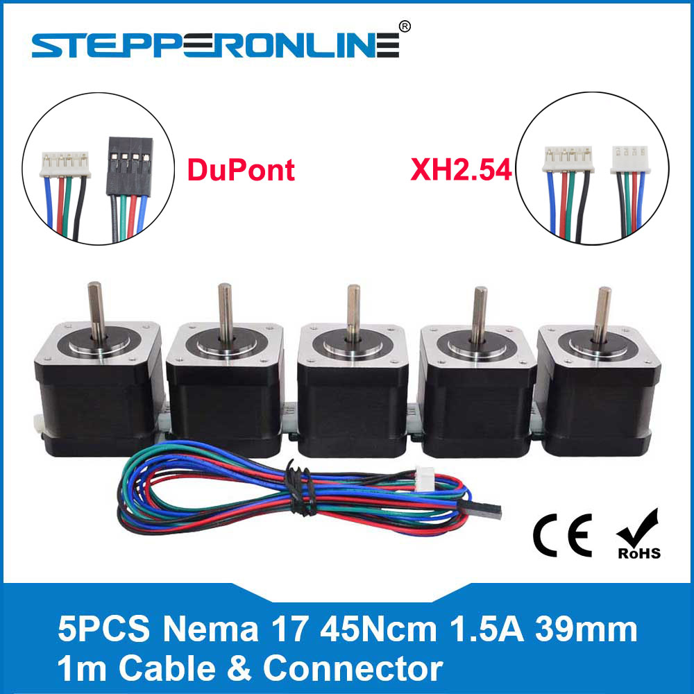 Free Ship 5pcs 4 lead Nema 17 Stepper Motor 39mm 42 motor Nema17 Step 1 5A