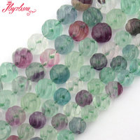 Fluorite Beads Natural Multicolor Round Carved Twist Gem Stone Strand 15 8 10mm For DIY Necklace
