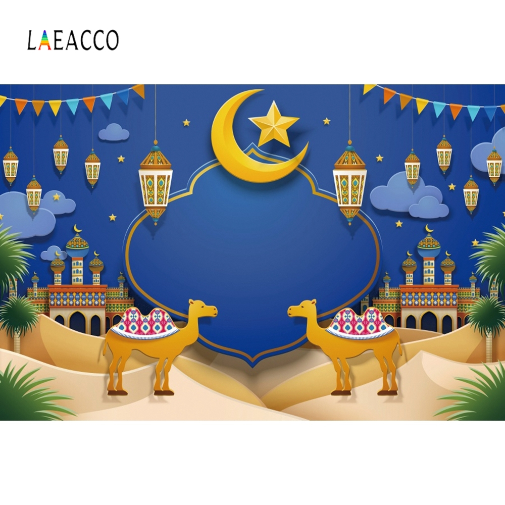 Laeacco Eid Mubarak Moon Camel Mosque Portrait Photography Backgrounds Customized Photographic Backdrops For Photo Studio