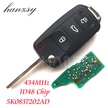 3 Buttons 434MHz Flip Folding key For VW VOLKSWAGEN GOLF PASSAT Polo Scirocco Tiguan Remote Key ID48 Chip 5KO837202AD