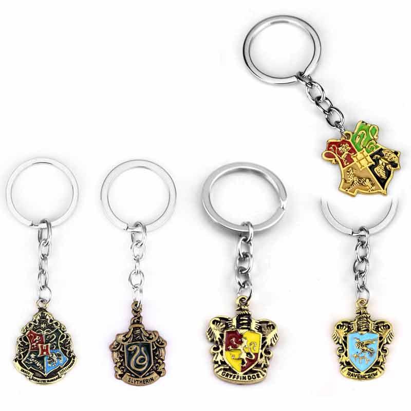 magic school Gryffindor Hufflepuff Ravenclaw Slytherin Pendent Cute Keychain logo key chain School Crest key ring Movie Jewelry