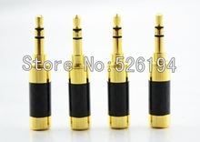 Free shipping 10pcs Oyaide style Brand New carbon fiber gold plated 3.5mm stereo plug