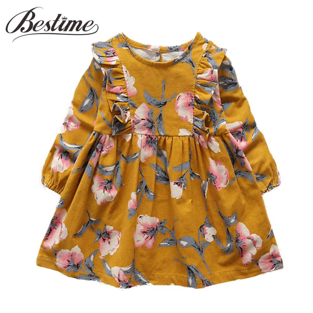 2017 Autumn Kids Dresses for Girls Cotton Long Sleeve Girl Dress Ruched Floral Children Dress Cute Kids Clothes toddlers girls dots deer pleated cotton dress long sleeve dresses