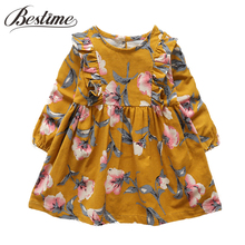 2017 Autumn Kids Dresses for Girls Cotton Long Sleeve Girl Dress Ruched Floral Children Dress Cute Kids Clothes