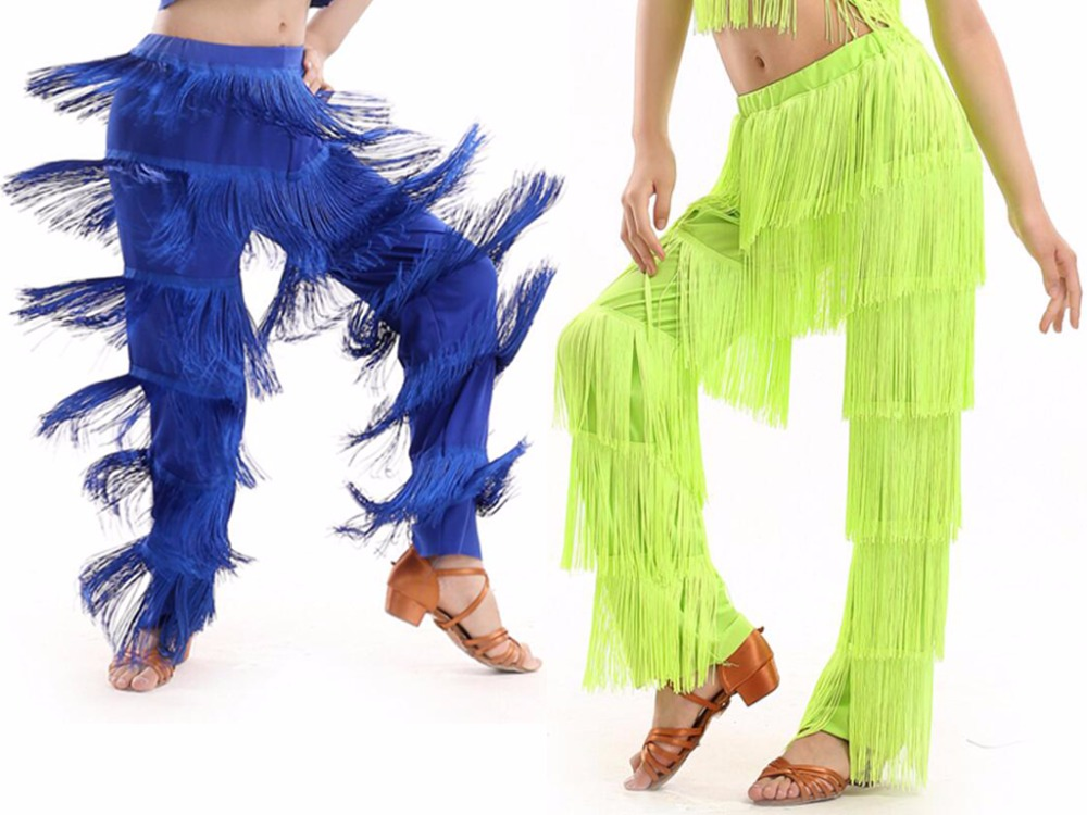 New Arrival Samba Tassel Latin Dance Costumes Girls Salsa Ballroom Fringe  Dance Pants Costume Adult Ballroom Dancing Dress