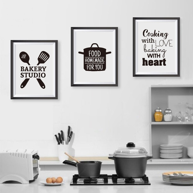 Cooking With Love Kitchen Room Decoration Quote Canvas Art Prints ...