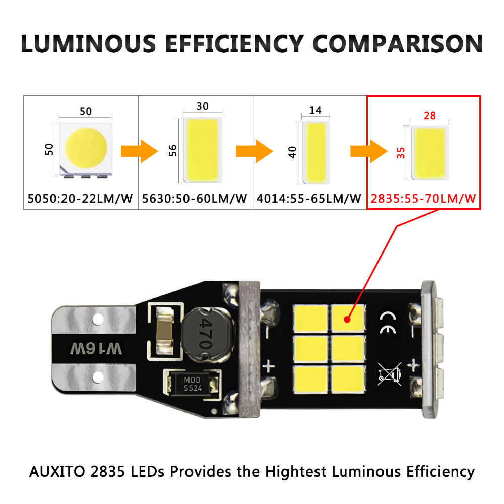 2pcs w16w led t15 canbus reverse light bulb 920 921 912 for vw t5 golf 4  [ 1000 x 1000 Pixel ]