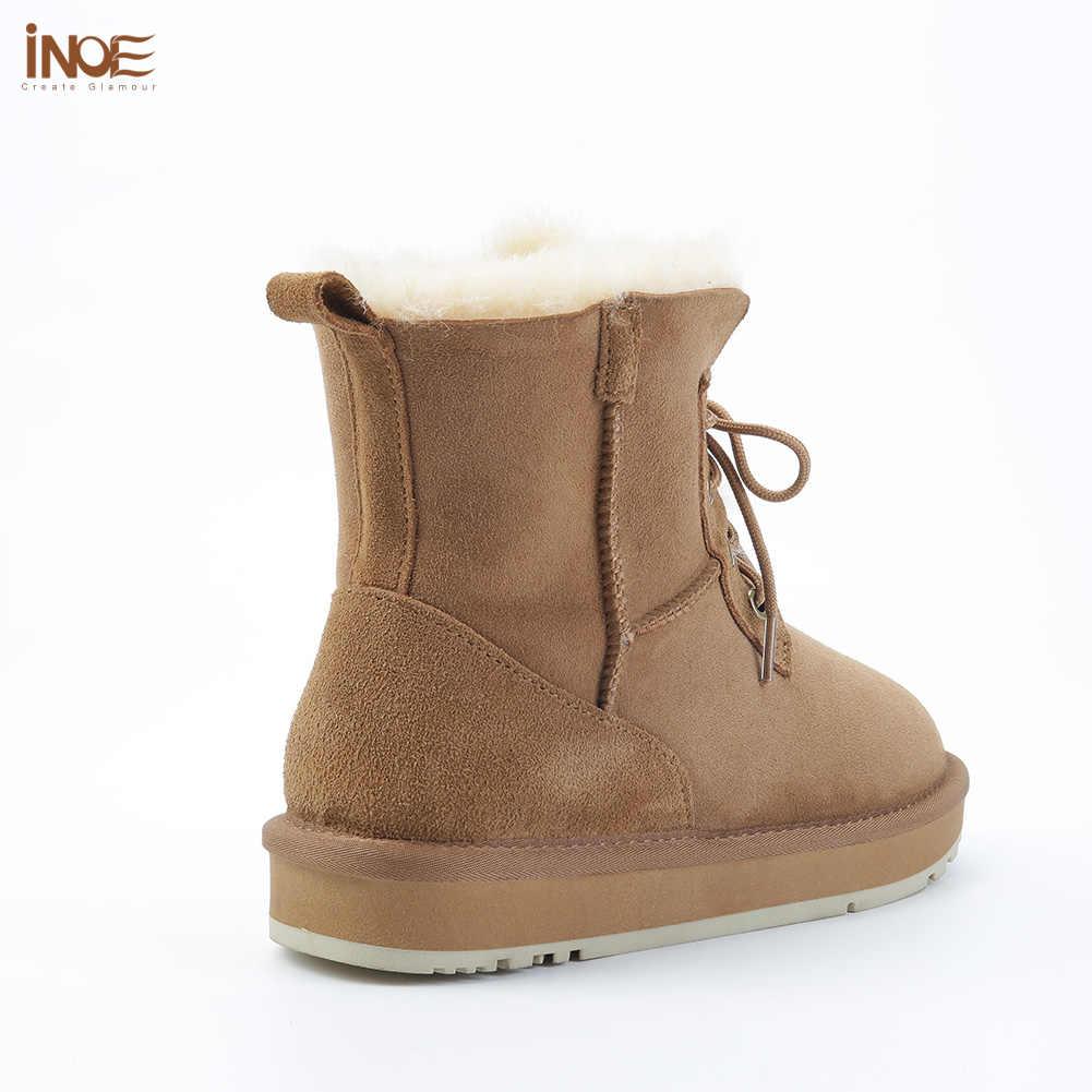 INOE Moda Koyun Derisi Süet Deri Yün Kürk Astarlı Kadın Rahat Kısa Ayak Bileği Kış Çizmeler Bayanlar Lace Up Kar Botları ayakkabı