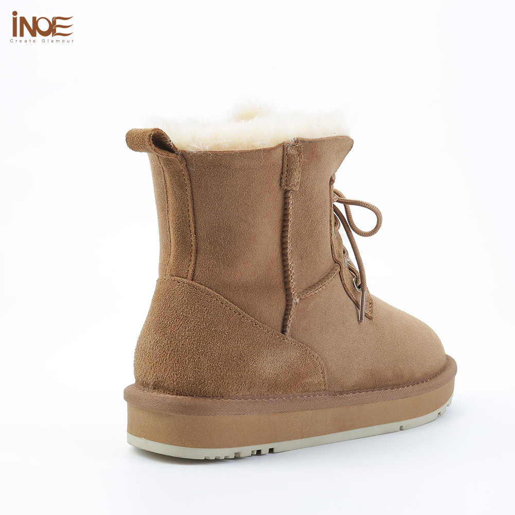 INOE אופנה כבש זמש עור צמר פרווה מרופד נשים מקרית קצר קרסול חורף מגפי גבירותיי תחרה עד שלג מגפיים נעליים