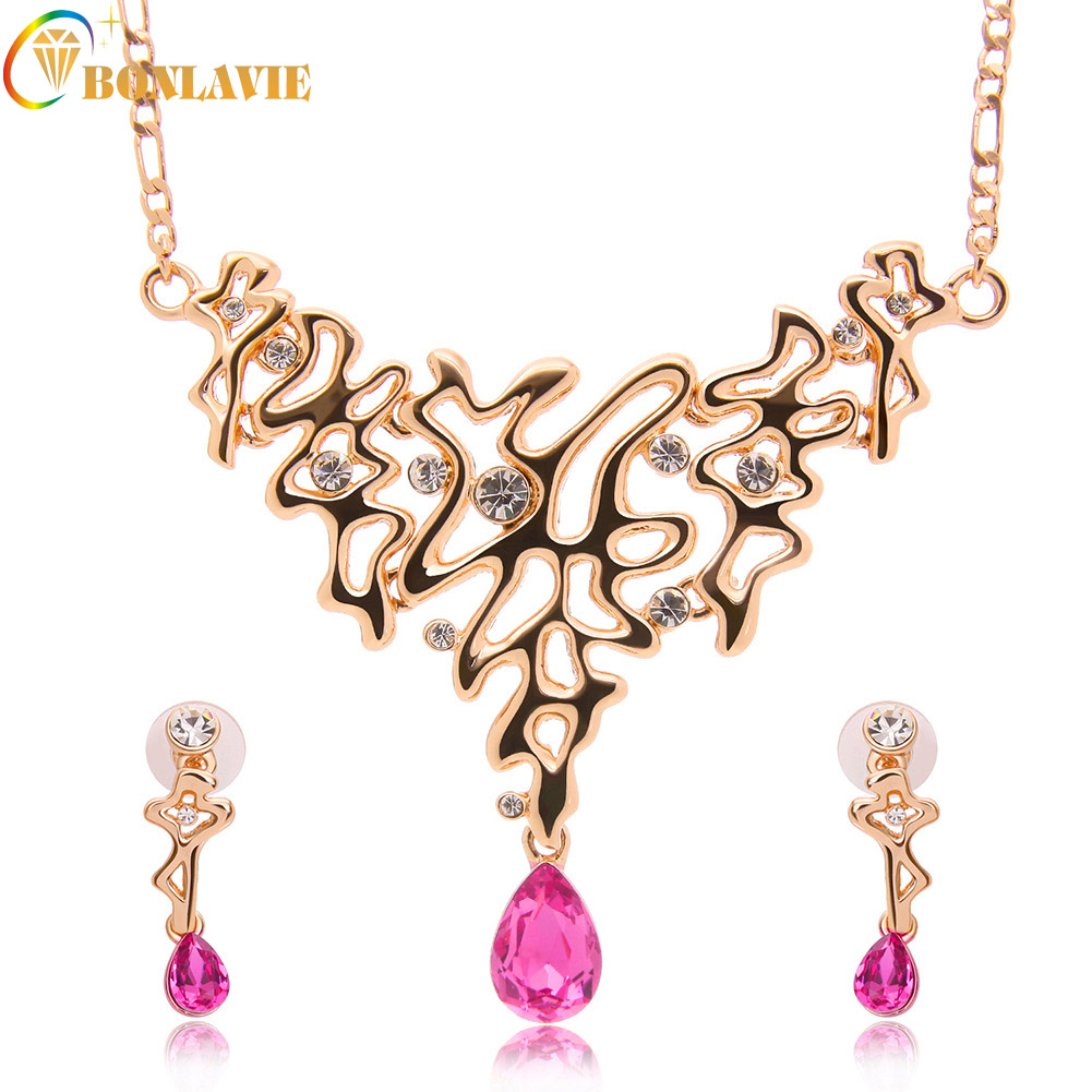Multi 2017 Choker Statement Fashion Necklaces & Pendants Necklace ExaggeratedEarrings Women Jewelry Set Red Crystal