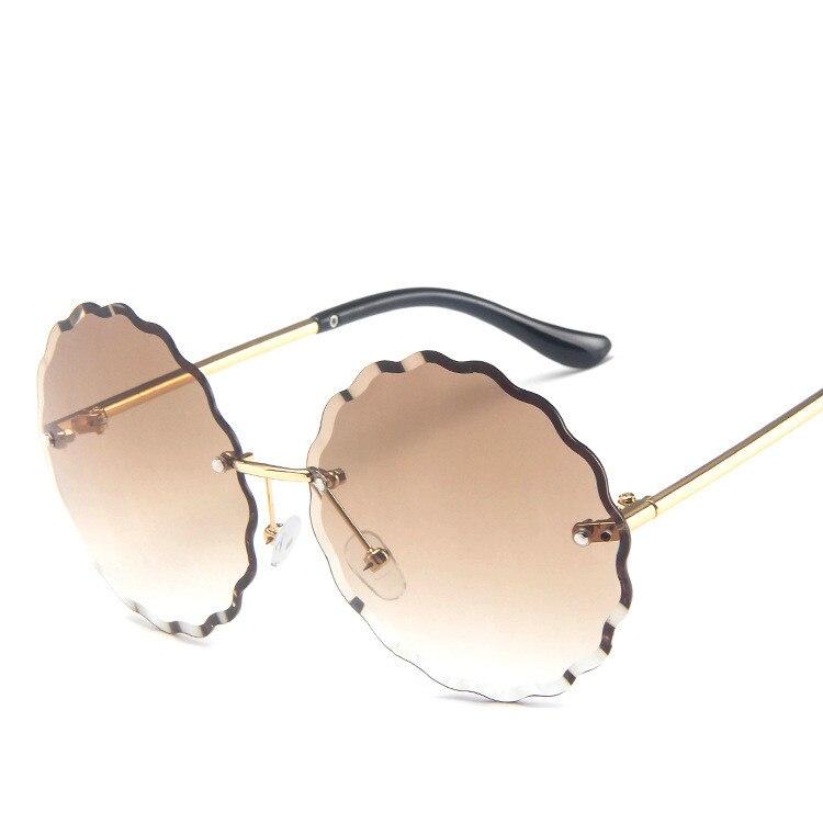 Rimless Gradient Sunglasses Women Luxury Brand Designer Round Sun Glasses Ladies Gradient Shades Clear Eyewear in Women 39 s Sunglasses from Apparel Accessories