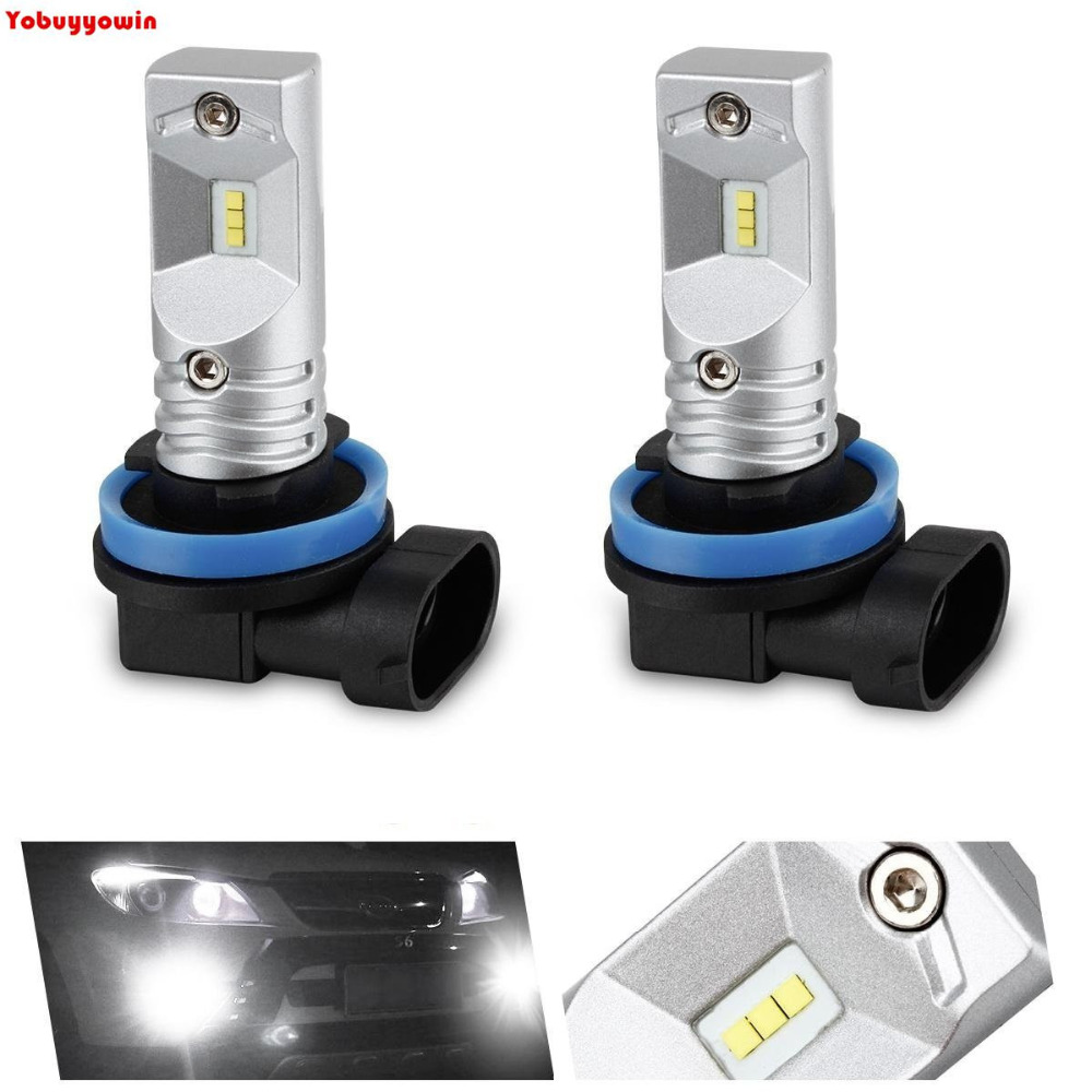 2pcs 6000K White Powered By Philips Luxen Chips LED H11 H8 H9 Bulbs For Fog Lights Driving Lamps Universal Car Bulbs